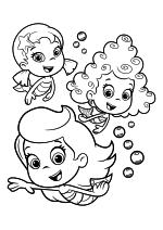 Раскраска - Гуппи и пузырики - Уна, Дина и Молли