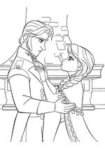 Раскраска - Холодное сердце - Анна ждёт от Ханса поцелуй