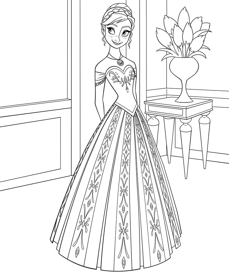 Раскраска - Холодное сердце - Анна в бальном платье | MirChild