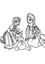 Раскраска - Холодное сердце - Анна и Эльза чинят Олафа