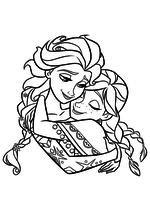 Раскраска - Холодное сердце - Эльза обнимает Анну