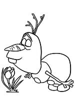 Раскраска - Холодное сердце - Олаф нюхает цветок