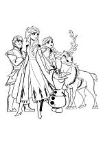 Раскраска - Холодное сердце 2 - Кристофф, Эльза, Анна, Олаф и Свен