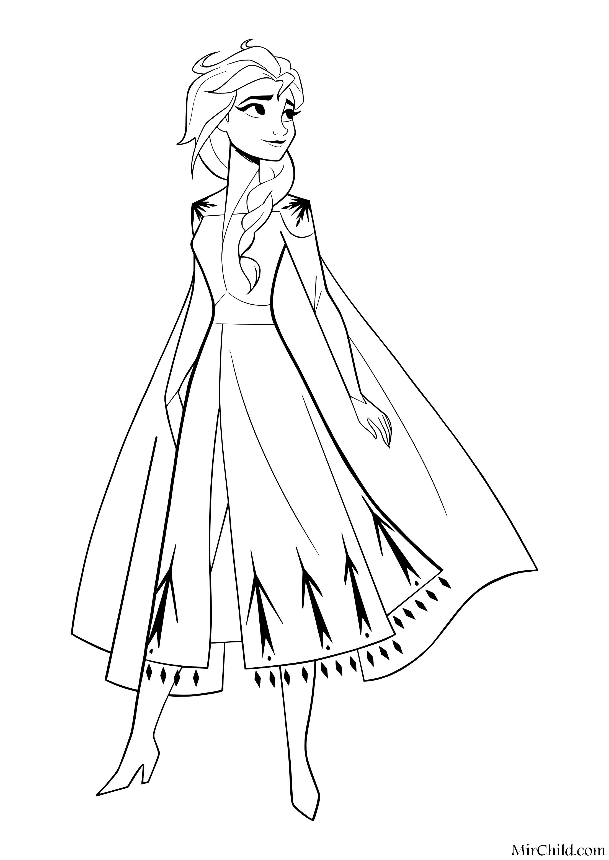 Раскраска - Холодное сердце 2 - Королева Эльза | MirChild