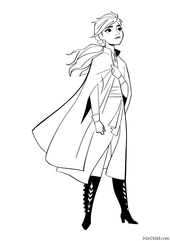 Раскраска - Холодное сердце 2 - Принцесса Анна | MirChild