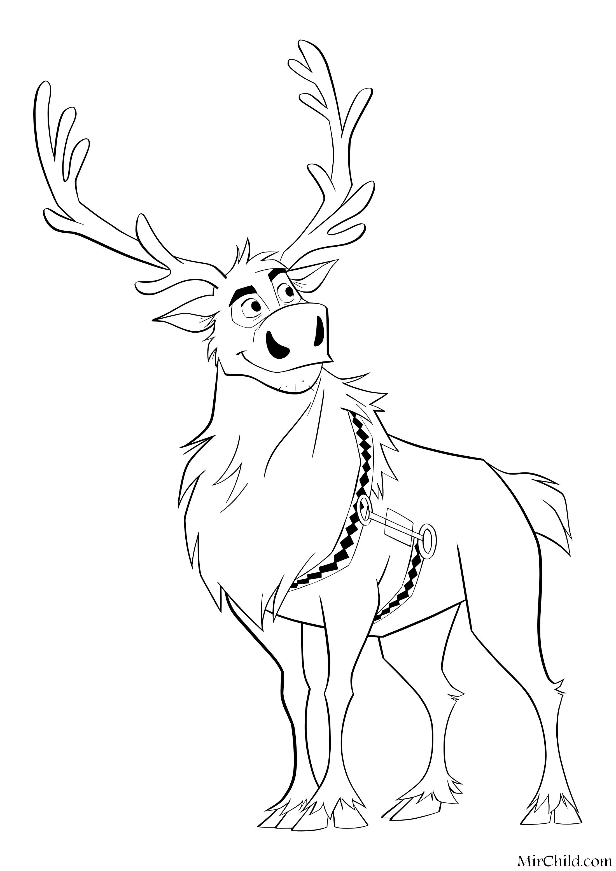 Раскраска - Холодное сердце 2 - Северный олень Свен | MirChild