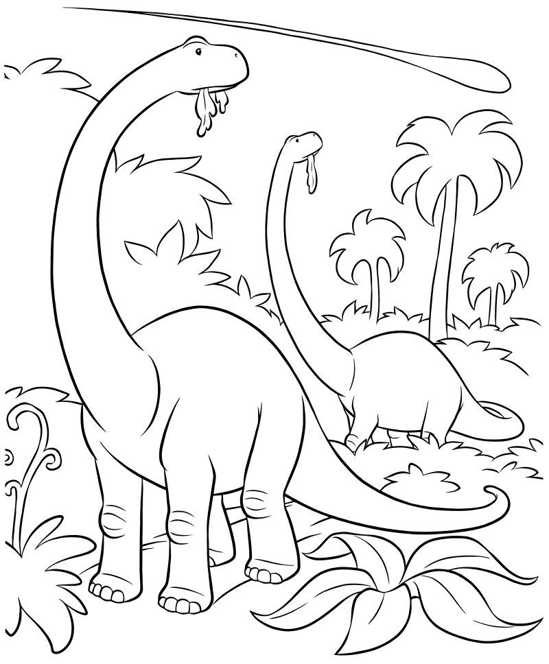 Раскраска - Хороший динозавр - Динозавры и астероид | MirChild