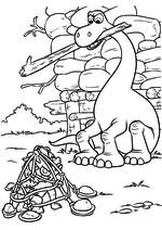 Раскраска - Хороший динозавр - Дружок попался в ловушку