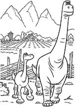 Раскраска - Хороший динозавр - Арло с отцом идут на охоту