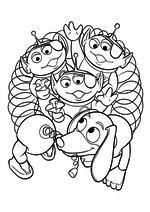 Раскраска - История игрушек - Инопланетяне и Спиралька