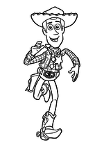 Раскраска - История игрушек - Вуди бежит