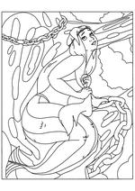 Раскраска Русалка на дубе