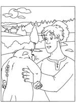 Раскраска Иван беседует с Котом Учёным