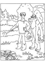 Раскраска Иван и Волк чинят колесо