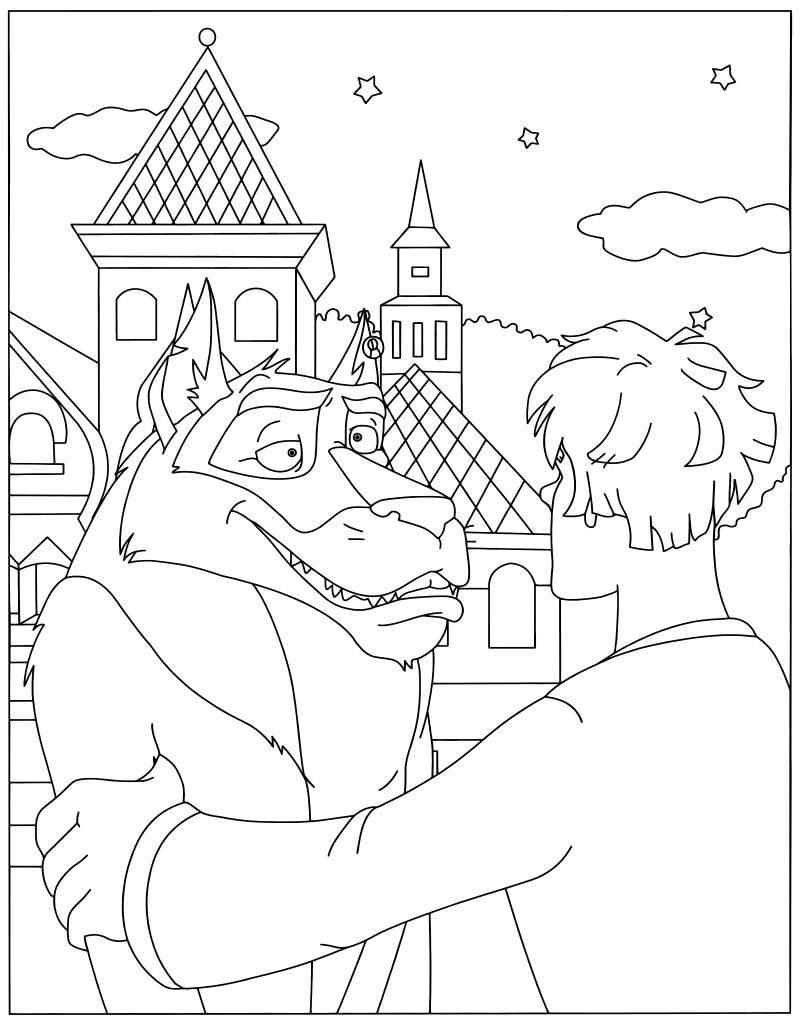 Иван царевич и серый волк раскраска для детей