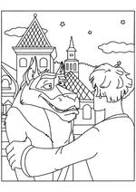 Раскраска - Иван Царевич и Серый волк - Иван просит помощи у Волка