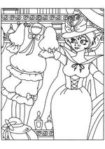 Раскраска - Иван Царевич и Серый волк - Наина рассматривает гардероб Василисы