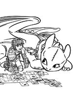 Раскраска - Как приручить дракона 2 - Иккинг с Беззубиком изучают карту