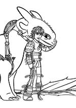 Раскраска - Как приручить дракона 2 - Иккинг с Беззубиком