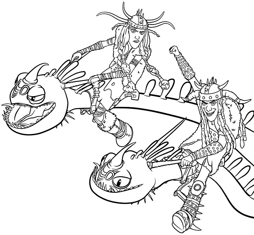 Раскраска - Как приручить дракона 2 - Забияка и Задирака ...