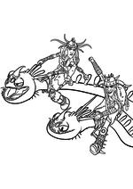 Раскраска - Как приручить дракона 2 - Забияка и Задирака на Пристеголове