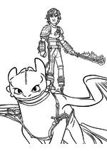 Раскраска - Как приручить дракона 2 - Иккинг с огненным мечом на Беззубике