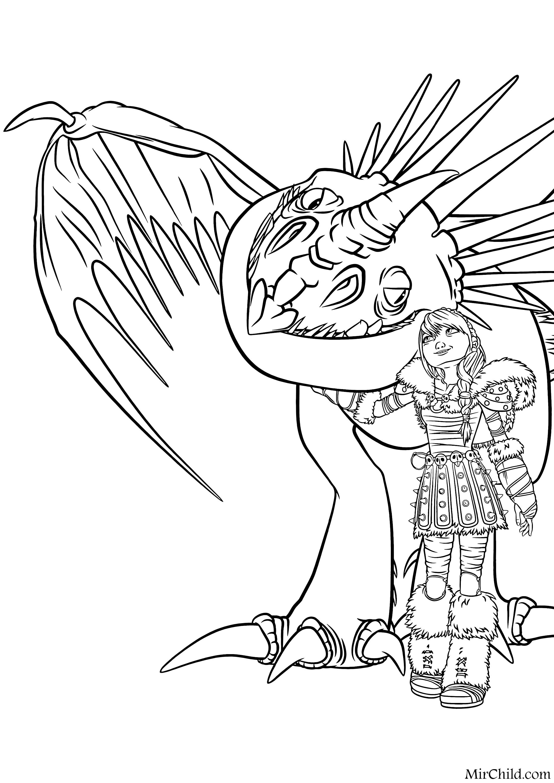 Раскраска - Как приручить дракона 2 - Астрид обнимает ...