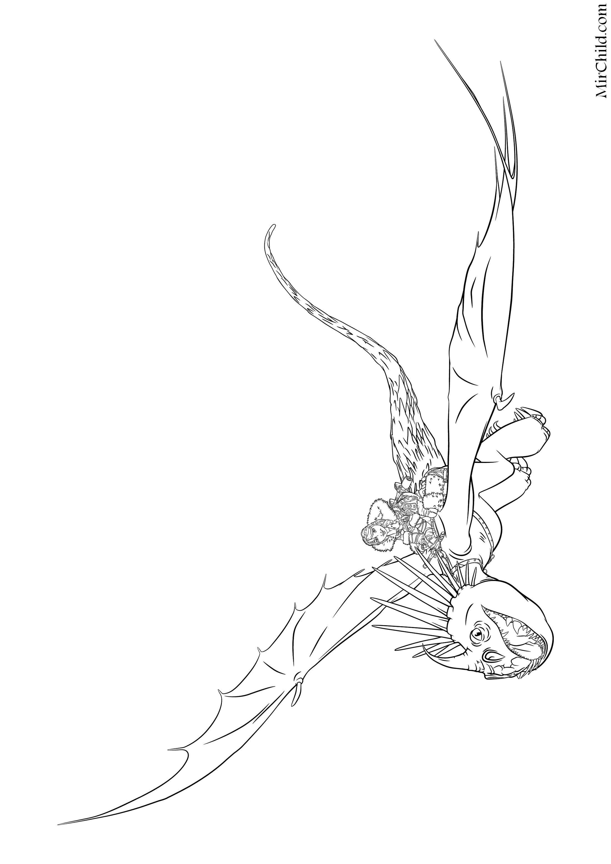Раскраска - Как приручить дракона 2 - Астрид летит на ...