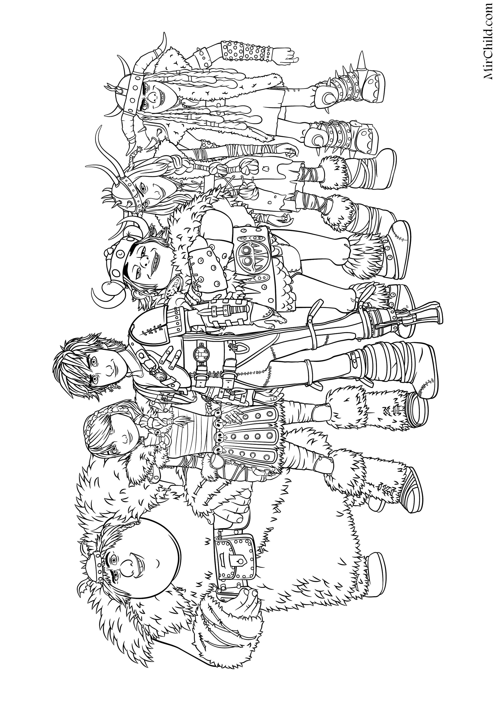 Раскраска - Как приручить дракона 2 - Рыбьеног, Астрид ...