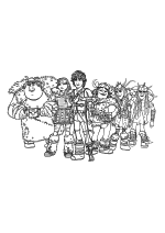 Раскраска - Как приручить дракона 2 - Рыбьеног, Астрид, Иккинг, Сморкала, Забияка и Задирака