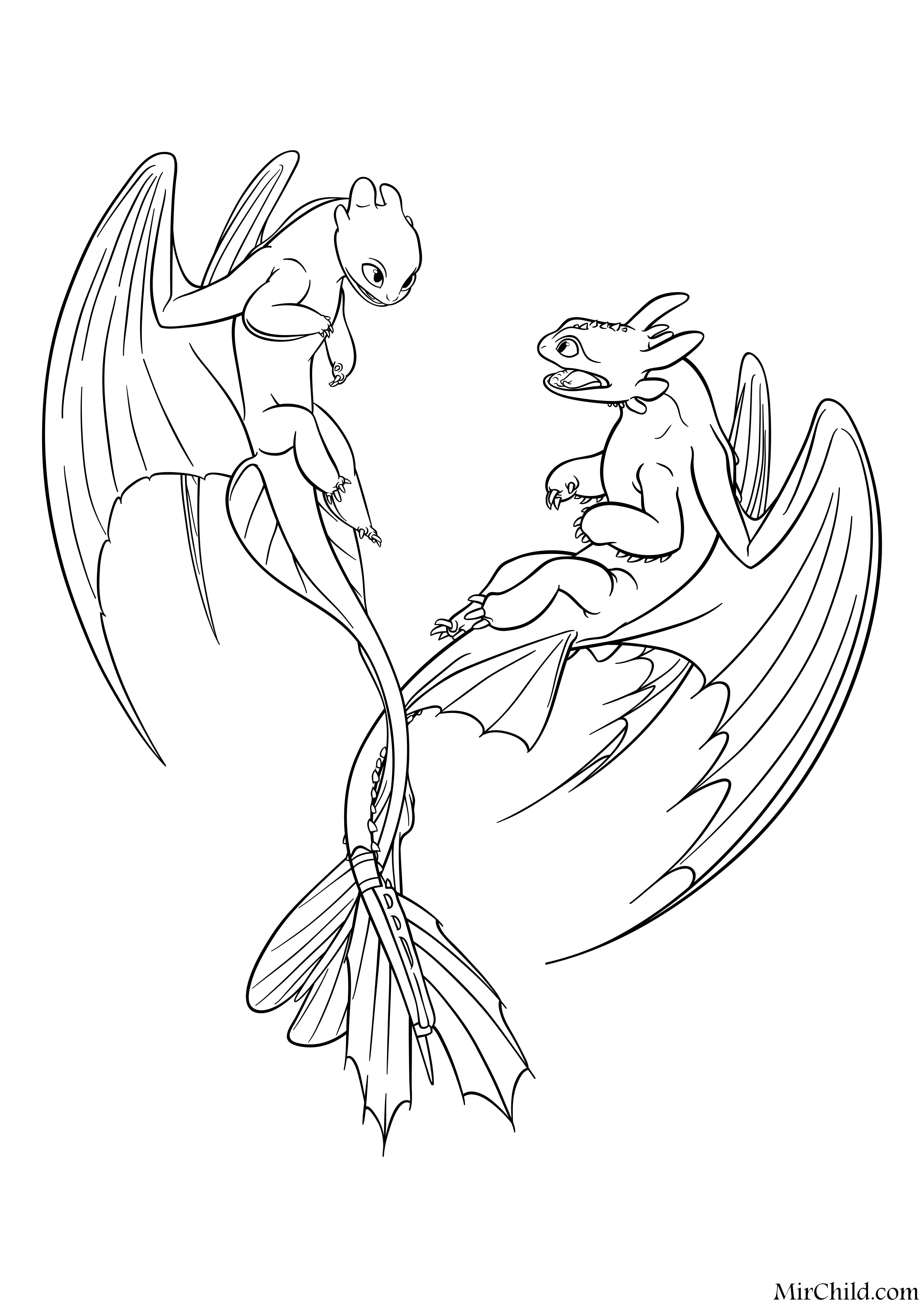 Раскраска - Как приручить дракона 3 - Дневная Фурия и ...
