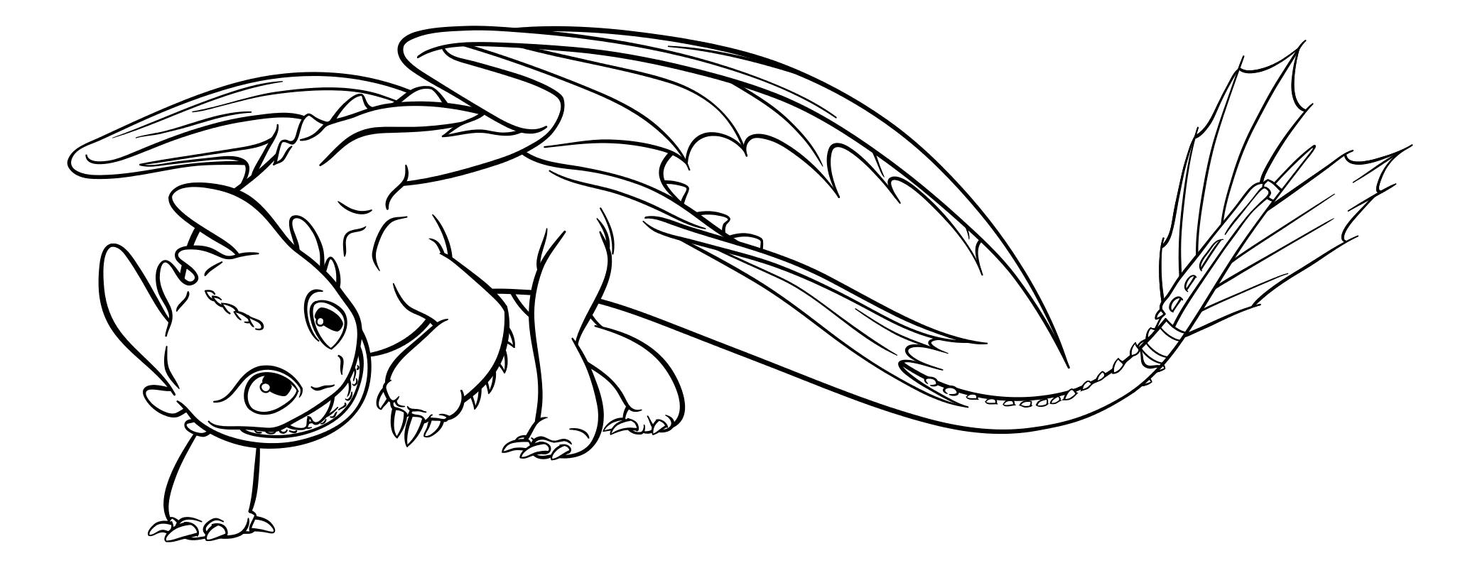 Раскраска - Как приручить дракона 3 - Беззубик - игривый ...