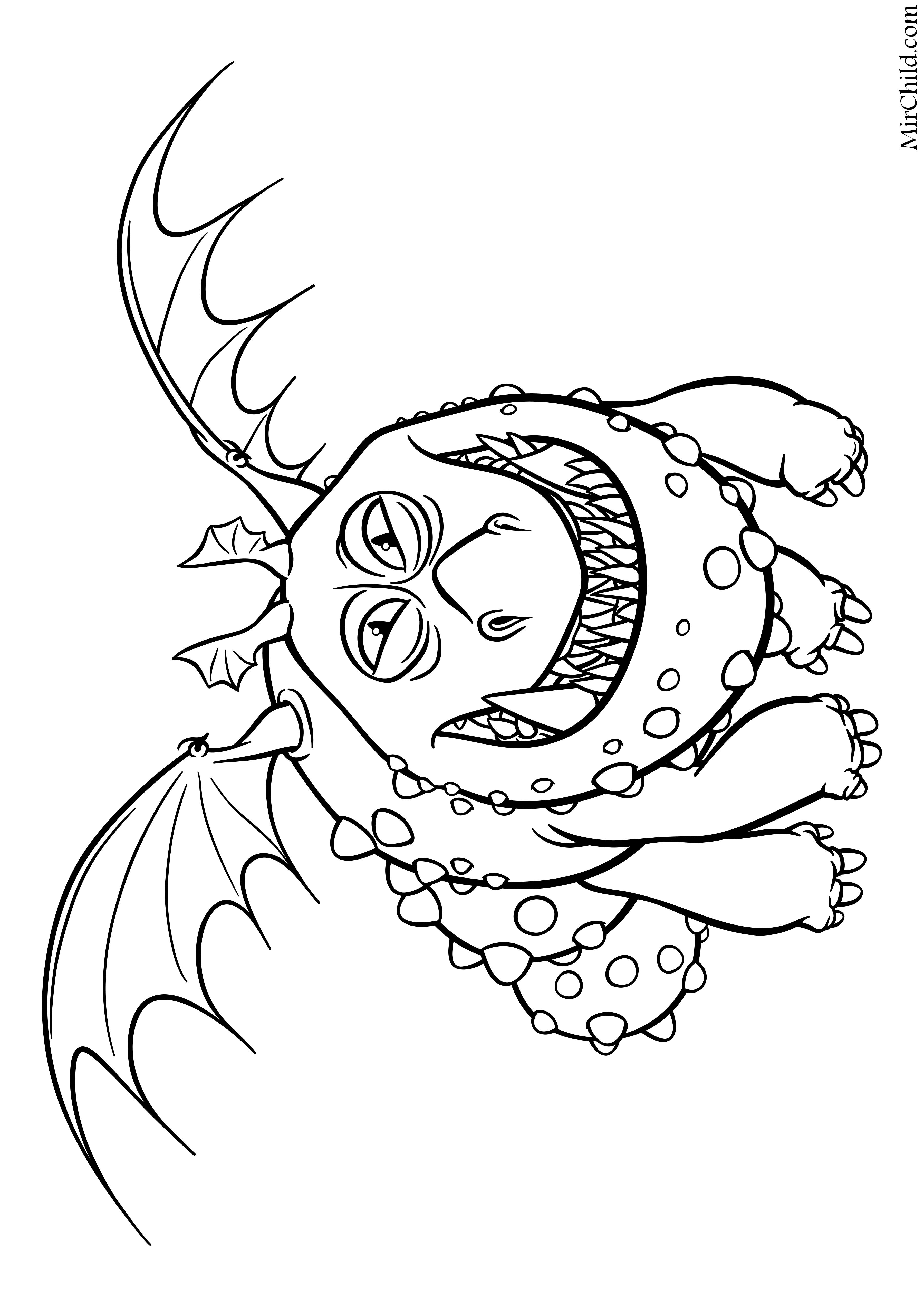 Раскраска - Как приручить дракона 3 - Сарделька - дракон ...