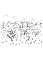 Раскраска - Кинг Дюклинг - Кинг Дюклинг и Вомбат в парке
