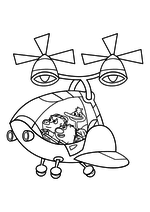 Раскраска - Кинг Дюклинг - Чампкинс, Вомбат и Кинг Дюклинг в вертолёте