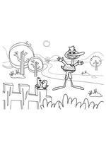 Раскраска - Кинг Дюклинг - Кинг Дюклинг и птички