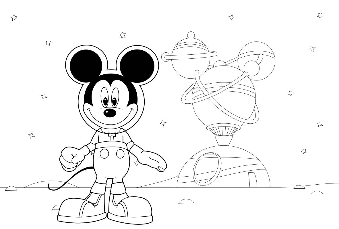 Раскраска - Клуб Микки Мауса - Космические приключения Микки Мауса