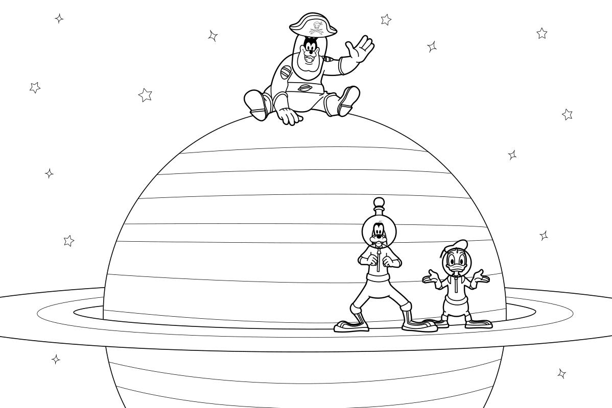 Раскраска - Клуб Микки Мауса - Пират Пит, Гуфи и Дональд в космосе