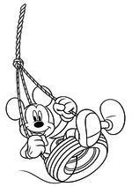 Раскраска - Клуб Микки Мауса - Микки Маус на качели из шины