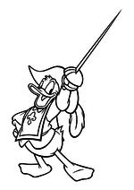 Раскраска - Клуб Микки Мауса - Дональд Дак - мушкетёр со шпагой
