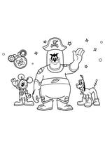 Раскраска - Клуб Микки Мауса - Микки Маус, Пират Пит и Плуто - космонавты