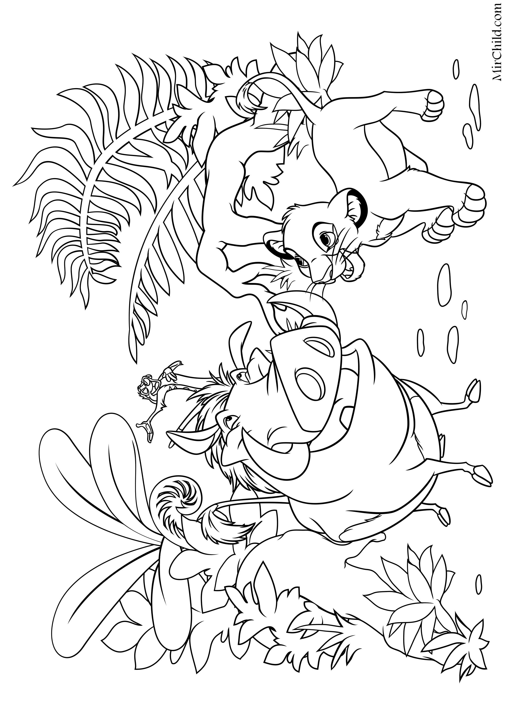Раскраска - Король Лев - Пумба, Тимон и Львёнок Симба ...