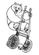 Раскраска - Кунг-фу панда 2 - Мастер По на тележке