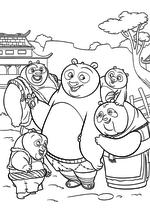 Раскраска - Кунг-фу панда 3 - Радостные панды встречают По