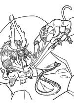 Раскраска - Кунг-фу панда 3 - Кай похищает Ци Обезьяны и Гадюки