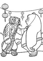 Раскраска - Кунг-фу панда 3 - Тигрица говорит с По
