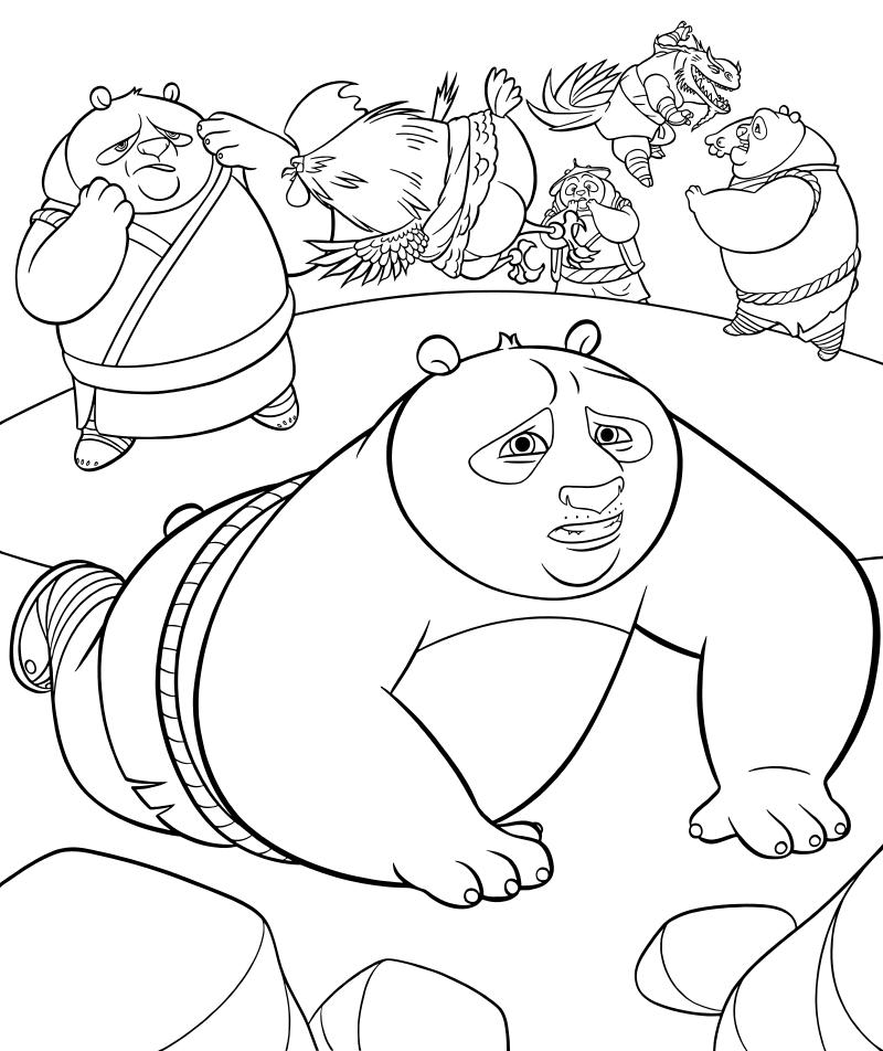 Раскраска - Кунг-фу панда 3 - Панды почти проиграли бой