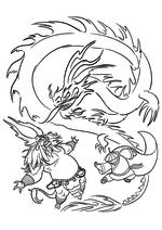 Раскраска - Кунг-фу панда 3 - По победил Кая используя свою Ци