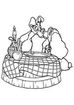 Раскраска - Леди и бродяга - Леди и Бродяга за столом