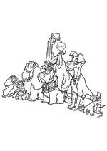 Раскраска - Леди и бродяга - Сёстры Шалуна, Леди, Джок, Верный, Бродяга и Шалун